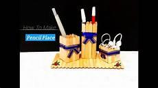 cara simpel membuat tempat pensil dari stik es krim youtube