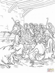 nativity animals coloring pages 17101 ausmalbild krippenszene mit heiliger familie hirten und tieren ausmalbilder kostenlos zum