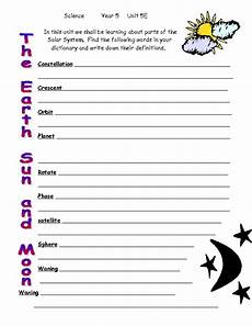 the earth moon and sun worksheets 14414 the earth sun and moon worksheet for 3rd 5th grade lesson planet