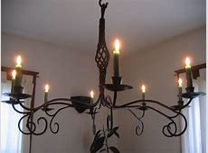 Hand Crafted Forged Iron Candle Chandelier by Mystic