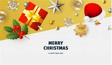 merry christmas banner with flakes white and yellow ground vector free download