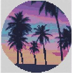 sunset with palm tree silhouette cross stitch pattern