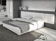 lit 180x200 cm simili blanc lorik king size design