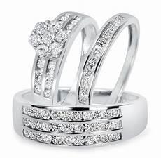 1 1 2 ct t w diamond trio matching wedding ring 14k white gold my trio rings bt500w14k