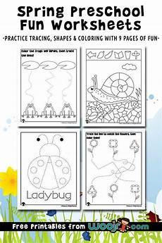 spring preschool worksheets for shape recognition tracing practice woo jr kids activities