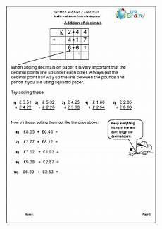 measurement worksheets 1460 written addition 2 decimals
