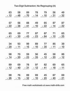 math worksheets subtraction with regrouping 10620 the two digit subtraction with no regrouping 49 questions a math worksheet from the