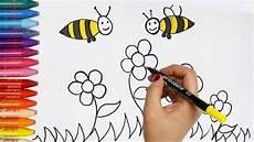 Ausmalbilder Blumen Und Bienen Wie Zeichnet Biene Und Blumen Zeichnen Und Ausmalen
