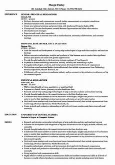 principal researcher resume sles velvet jobs