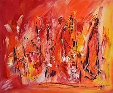 peinture abstraite moderne au couteau orange jaune
