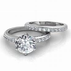 six prong pav 233 solitaire engagement ring and wedding band