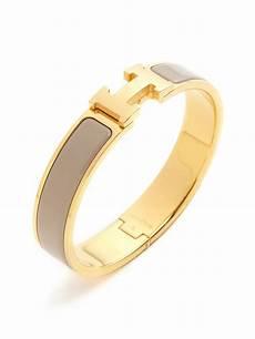hermes clic clac h beige narrow enamel bracelet pm by