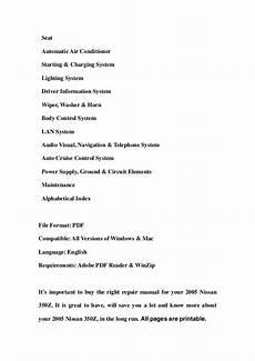 free online auto service manuals 2005 nissan 350z spare parts catalogs 2005 nissan 350z service repair workshop manual download