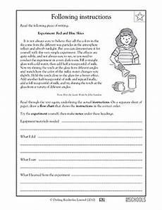5th grade reading writing worksheets following