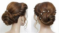 new low bun hairstyle for girls party updo hair tutorial youtube