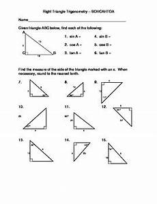 right triangle trigonometry using sohcahtoa by d p f