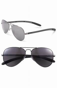 ban tech polarized 58mm aviator sunglasses in gray for