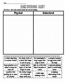 animal adaptations worksheets middle school 13966 physical vs behavioral adaptations sorting school science process 4 5 animal