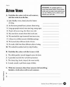action verbs grade 4 printable test prep tests and