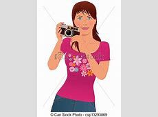 Cute girl photographer. Young woman taking pictures with a