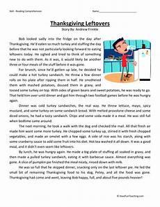 reading comprehension worksheet thanksgiving leftovers