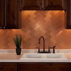 aspect backsplash 3x6 brushed copper short grain metal tile in 2019 metal tile backsplash