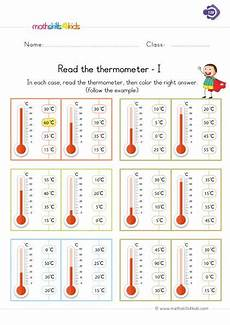 read the thermometer measurement worksheets first grade measurement 1st grade math worksheets