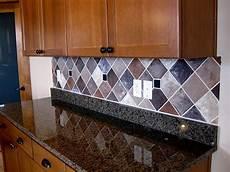 faux glass tile backsplash painted backsplash with faux tiles lots of exles of
