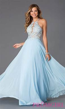 2016 designer s sky blue chiffon evening dress long lace halter prom dress summer style robe de