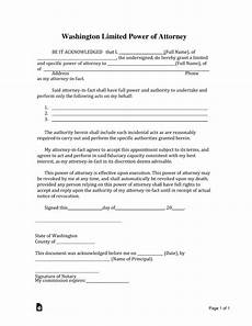 free washington limited power of attorney form word pdf eforms free fillable forms
