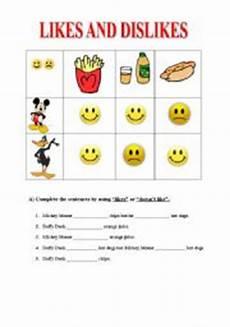 likes dislikes esl worksheet by dear teacher