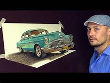 Drawing Old Cuban Classic Car/ 3D ART Painting  YouTube