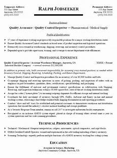 quality control quality assurance inspector sle resume template