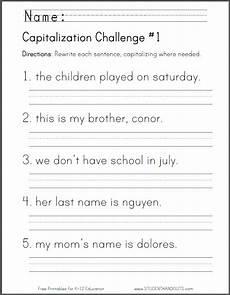 capitalization challenge worksheets student handouts