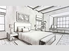 Drawing A Bedroom in Two Point Perspective   Timelapse