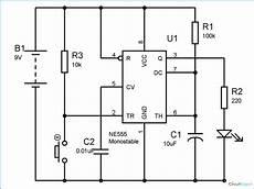 555 Timer Monostable Circuit Diagram