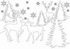 Ausmalbilder Weihnachten Reh Ausmalbild Rentiere Im Wald Mit Schneeflocken