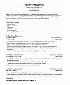 receptionist resume templates free printable word pdf