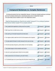 compound sentences complex sentences sentence worksheets