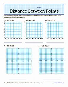 distance between points 6th grade geometry worksheets