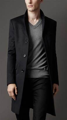 top coats for burberry wool top coat in blue for lyst