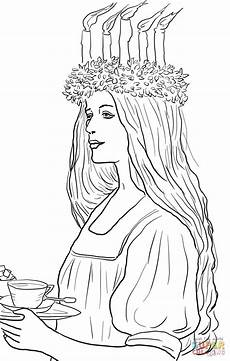 st lucia in sweden coloring page free printable