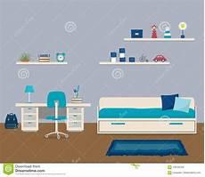 Raum In Einer Blauen Farbe Mit Bett Und