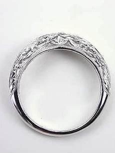 vintage style wedding ring with leaf motif rg 3345wbc