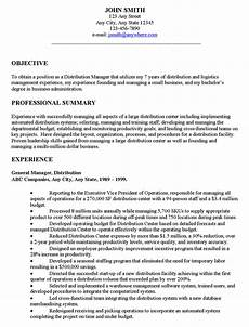 distribution manager executive resume exle