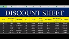 how to make discount sheet in ms excel 38 youtube