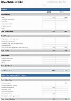 balance sheet free template for excel