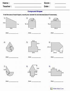 area of compound shapes adding regions worksheets area and perimeter pinterest math