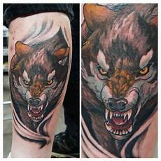 calf colour wolf tattoo chronic ink