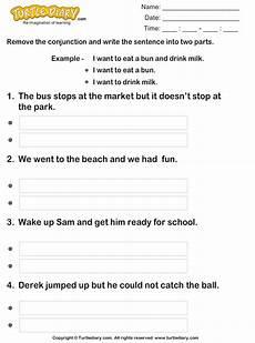 split sentences using conjunctions but and worksheet